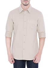 beige cotton striped casual shirt -  online shopping for casual shirts