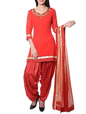 Red Embroidered Stitched Patiala Suit Set - By