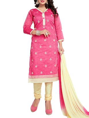 pink cotton blend embroidered semi-stitched suit -  online shopping for Semi-Stitched Suits