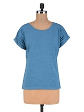 Blue Poly Viscose Knit  Oversized Top - By