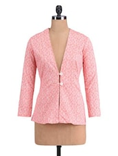 Pink Cotton Spandex Printed Jacket - By