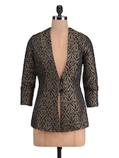 Black And Gold Cotton Satin Printed Jacket - By