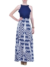 Navy And White Printed Poly Georgette Maxi Dress - By