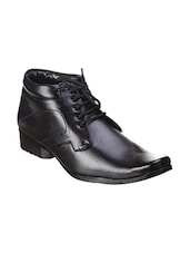 black leatherette lace up derby -  online shopping for Derbies