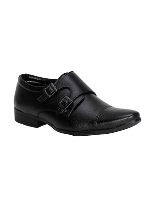 black leatherette slip on monk strap -  online shopping for Monk Straps