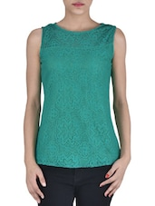 Solid Green Net Laced Top - By
