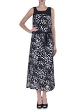 Black Georgette Printed Maxi Dress - By