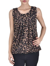 Black And Brown Polyester Animal Print Top - By