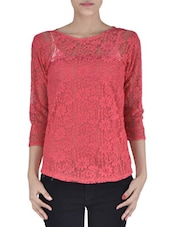 Solid Pink Net Laced Top - By