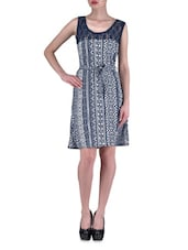 Blue Polyester Printed Party Wear Dress - By - 1306695