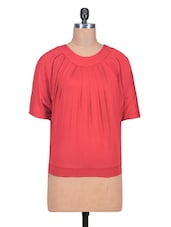 Red Poly Spandex Plain Top - By