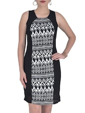Black Georgette Printed Party Wear Dress - By