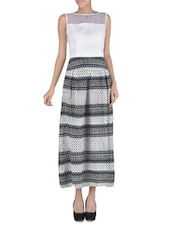 White Printed Georgette Maxi Dress - By
