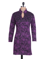 Purple And Black Printed Woolen Kurta - By