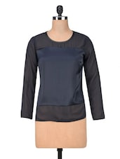 Black Polyester Plain Top - By
