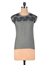 Grey Poly Crepe Embroidery Top - By