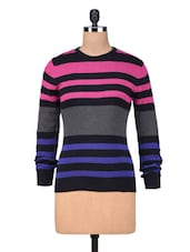 Multicolored Cotton Yarn Dyed Stripes Pullover - By