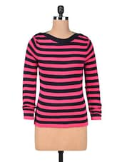 Pink Cotton Yarn Dyed Stripes Pullover - By