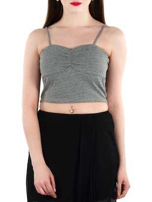 Solid grey jersey camisole -  online shopping for Camisoles