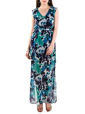 Multicoloured printed georgette maxi dress -  online shopping for Dresses