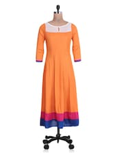 Orange Rayon Anarkali Kurta - By