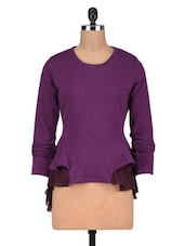 Purple Poly Cotton And Poly Georgette Frill Sweatshirt - By
