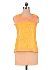 Mustard Yellow Printed Art Silk Top - By