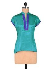 Sky Blue Art Silk Top With Mandarin Collar - By