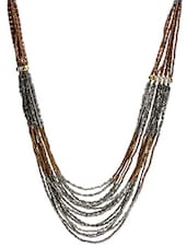 Silver And Copper Beaded Necklace - By