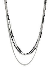 Silver And Black Beads Embellished Necklace - By