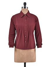 Solid Wine Polycrepe Shirt - By
