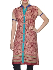Maroon And Beige Rayon Printed Kurta - By