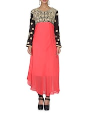 Coral Pink Embroidered Georgette Kurta - By