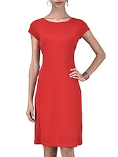Solid Red Polyspandex Dress - By