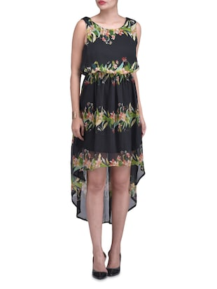 Black Floral Chiffon Hi-Lo Dress