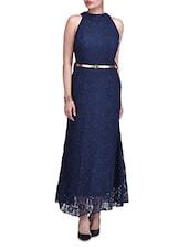 Navy Blue Poly-Lace Halter Neck Gown - By