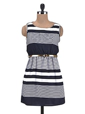Navy Blue And White Striped Polyester Dress - By