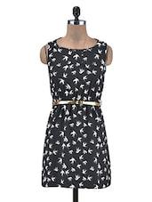 Black Bird Printed Poly-Crepe Dress - By