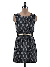 Black Bicycle Print Poly-Crepe Dress - By