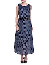 Navy Blue Polka Dot Georgette Long Dress - By