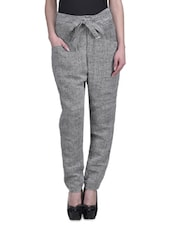 Grey Jute Khadi Straight Fit Trousers - By