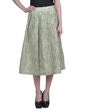 Green Khadi Cotton Box-Pleated A-Line Midi Skirt - By