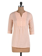 Peach Cotton Top With Pintuck Yoke - By