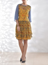 Mustard Floral Printed Viscose Chiffon Dress - By