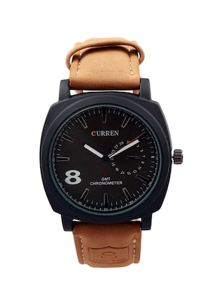 CURREN Men's Black Dial Brown Leather Strap Analog Wrist Watch -  online shopping for Analog Watches