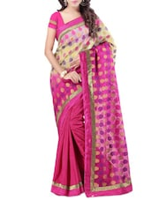 Pink Banarasi Silk Brocade Saree - By