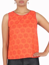 Orange And Red Cotton Printed Top - By