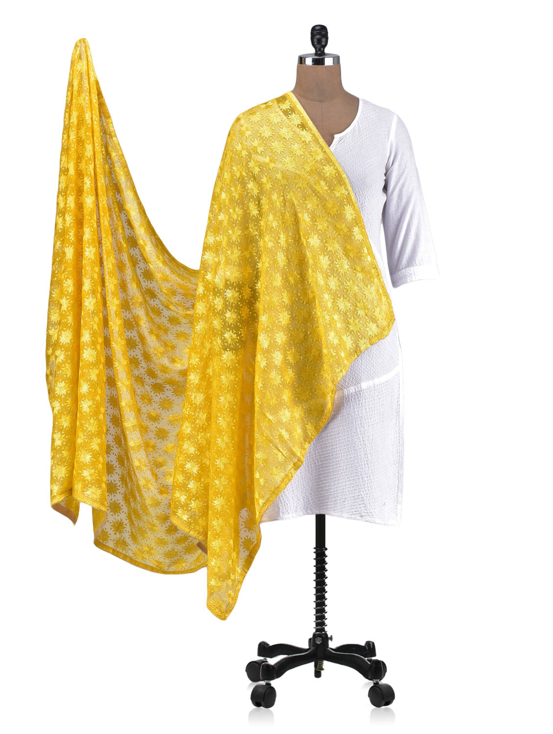 Yellow Chiffon Embroidered Dupatta - By