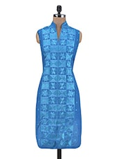 Blue Cotton Silk Embroidered Semi Stitched Kurti - By