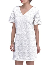 White Floral Net  Dress With Lace Work - By